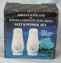 Johann Haviland Bavaria Blue Garland Platinum Salt & Pepper Shaker Set - $35.53