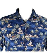 Campia Moda Palm Trees Ships Islands Huts Large Hawaiian Aloha Shirt - $25.88
