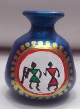 ethnic design vintage home decor warli art pot hand carved clay vare sma... - $19.80