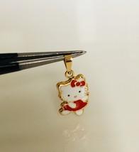 14K Yellow Gold Enamel Hello Kitty Baby Dancing Body Pendant Red - $93.48