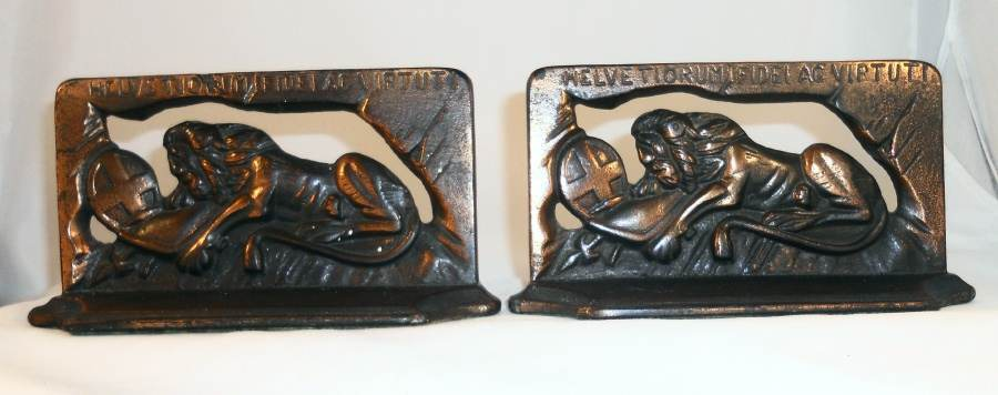 Vintage Bronze Colored Cast Iron Bookends Switzerland's Lion of Lucerne