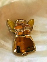 Estate Goldtone ANGEL with Yellow Enamel Wings & Clear Rhinestone Accent... - $8.59