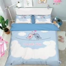 3D Bird Couple 1 Bed Pillowcases Quilt Duvet Cover Set Single Queen King Size AU - $64.32+