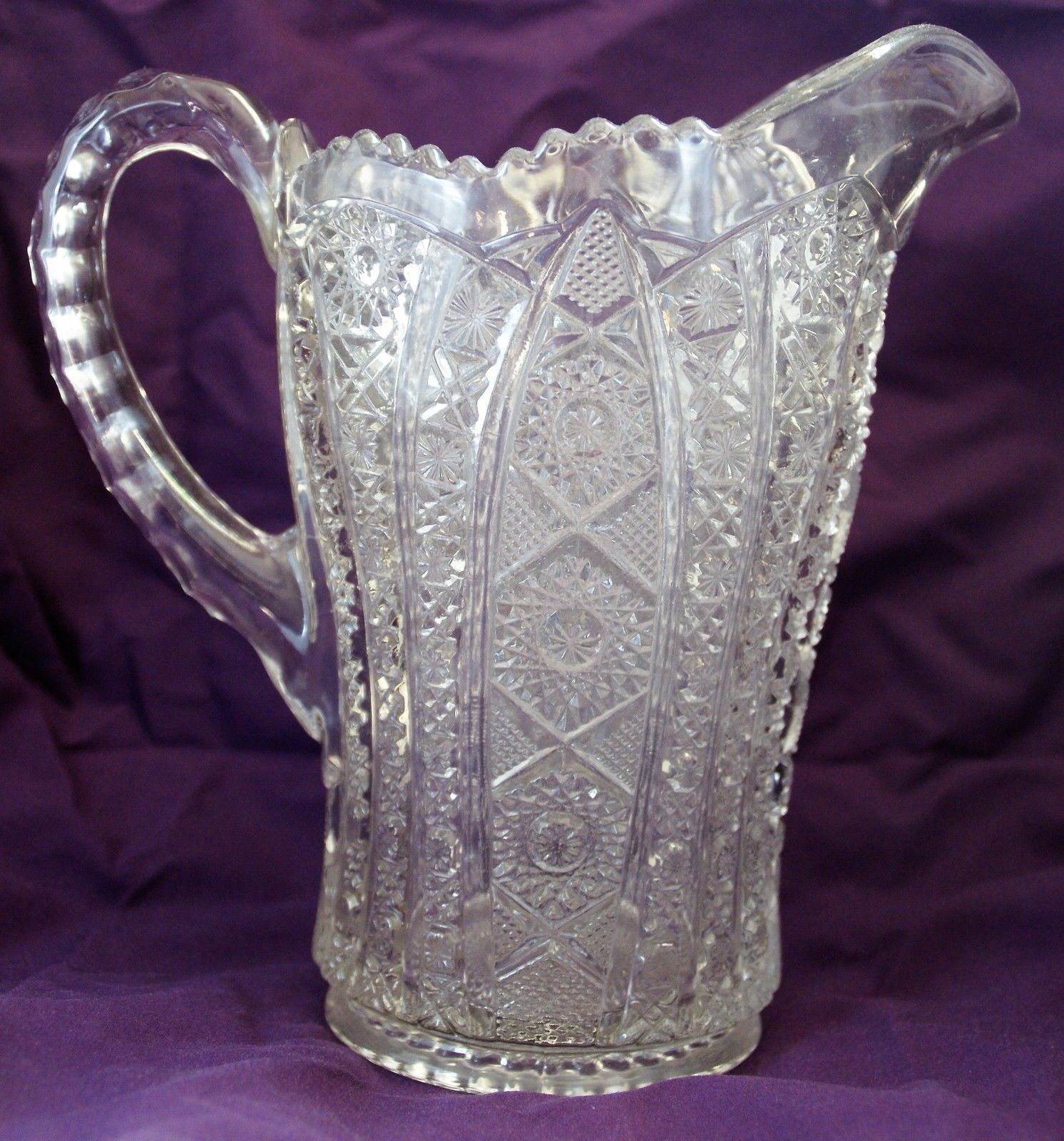 Vintage Imperial Daisy & Button Clear Pressed Glass Water Pitcher