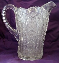 Vintage Imperial Daisy & Button Clear Pressed Glass Water Pitcher - $27.09