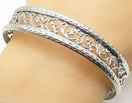 925 Sterling Silver - Shiny Floral Vine Filigree Round Bangle Bracelet -... - $34.65