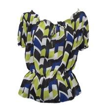 Kenneth Cole Reaction Womens Green Blue Print Short Sleeve Blouson Top Sz 6 - $4.95
