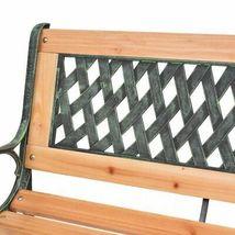 vidaXL Patio Wooden Garden Bench w/ Backrest Vintage Seat Diamond/Rose Design image 11