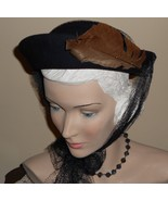 Vtg 30 40s WWII Hat  Navy Blue Wool Up Brim Feather Long French Netting - $78.00