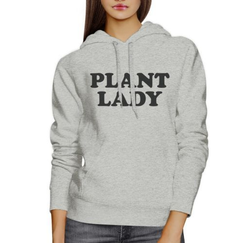 Plant Lady Unisex Grey Cute Graphic Hoodie Funny Gift Ideas For Her