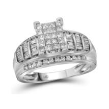 10kt White Gold Princess Diamond Cluster Bridal Wedding Engagement Ring ... - £682.27 GBP