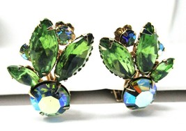 Green Rhinestone Clip Earrings Gold Tone Marquise & Round Floral Spray - Vintage - $18.81