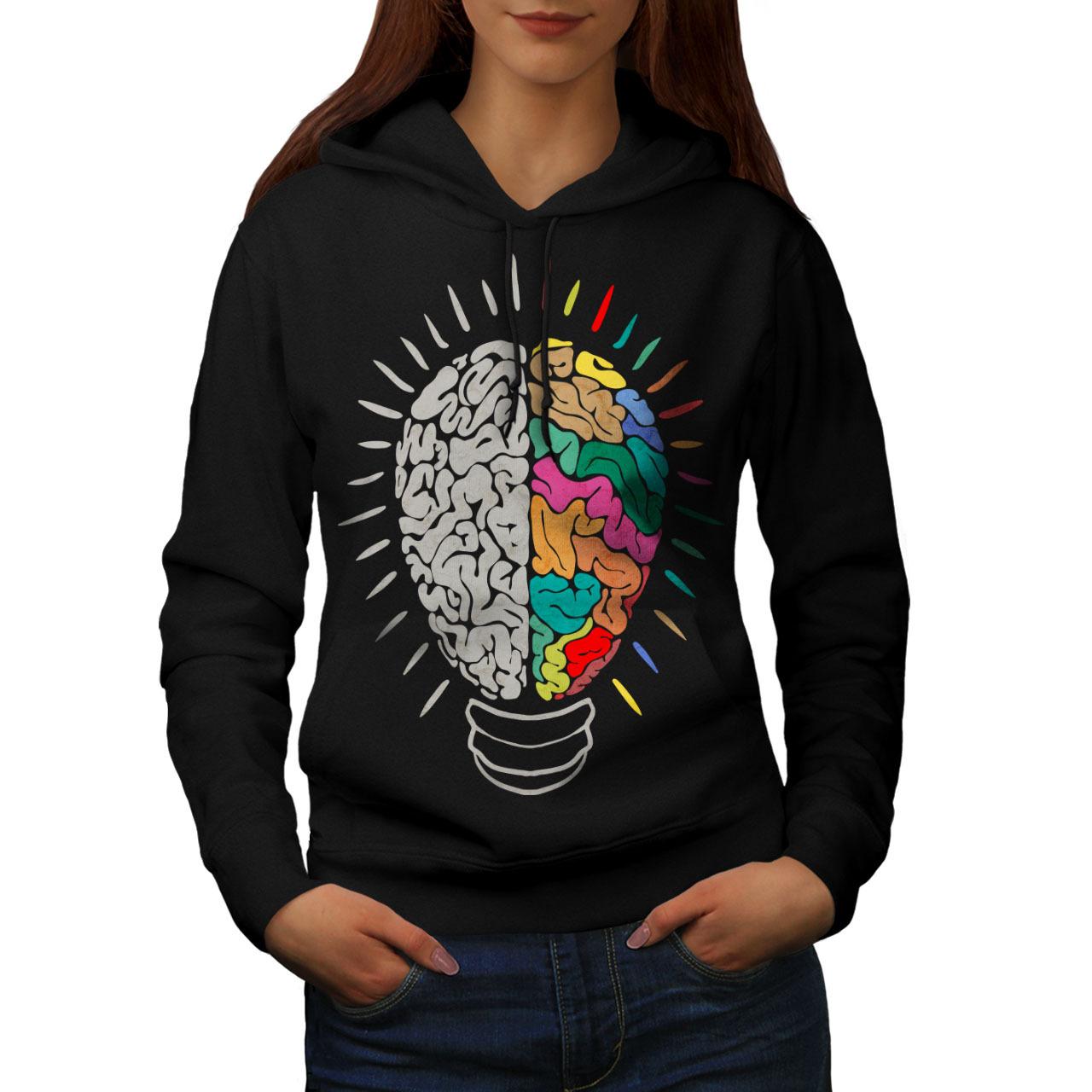 Creative Brain Bulb Sweatshirt Hoody Idea Light Women Hoodie - $21.99 - $22.99
