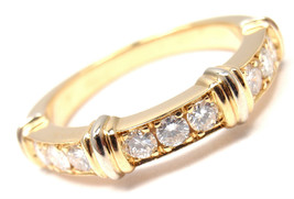 AUTHENTIC! CARTIER 18K YELLOW GOLD DIAMOND BAND RING, SIZE 48 US 5 - $3,800.00
