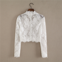 White V-Neck Long Sleeve Lace Tops Bridal Bridesmaid Shirt Rose Pattern Lace Top image 3