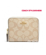 COACH SIGNATURE SMALL ZIP AROUND WALLET IN IM/LIGHT KHAKI/CHALK STYLE#F3... - $78.09