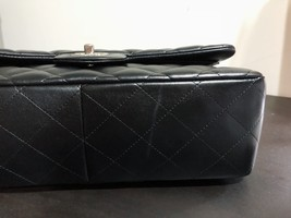 100% Authentic Chanel BLACK QUILTED LAMBSKIN JUMBO CLASSIC DOUBLE FLAP BAG SHW image 9
