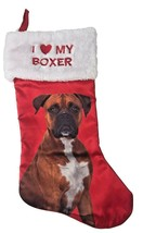 Holiday Time  I Love My Boxer Pet Satin Christmas Stocking NWT - $12.57
