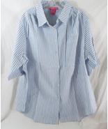 Women's Plus Seersucker Bigshirt Button-Tab S/S Light Lt. Blue & White S... - $19.73