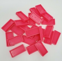 25 VINTAGE NEON PINK PRESSMAN DOMINO RALLY DOMINOES REFILL PIECES FOR SE... - $8.20