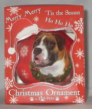 Boxer Christmas Ornament Shatter Proof Ball Dog Snowflake Wreath Red New  - $9.89
