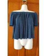 NEW WOMAN ELODIE CUTE CROPPED ACORDIAN BLUE BLOUSE TOP SZ M, OFF SHOULDERS, - $6.15