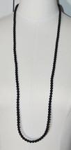 AVON WN Black Bead Beaded Acrylic Long Flapper Necklace Vintage - $13.86