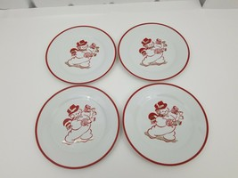 "Home China Snowman Salad Plates Set of 4 Red Trim Bells 8"" Side Dessert ... - $38.69"