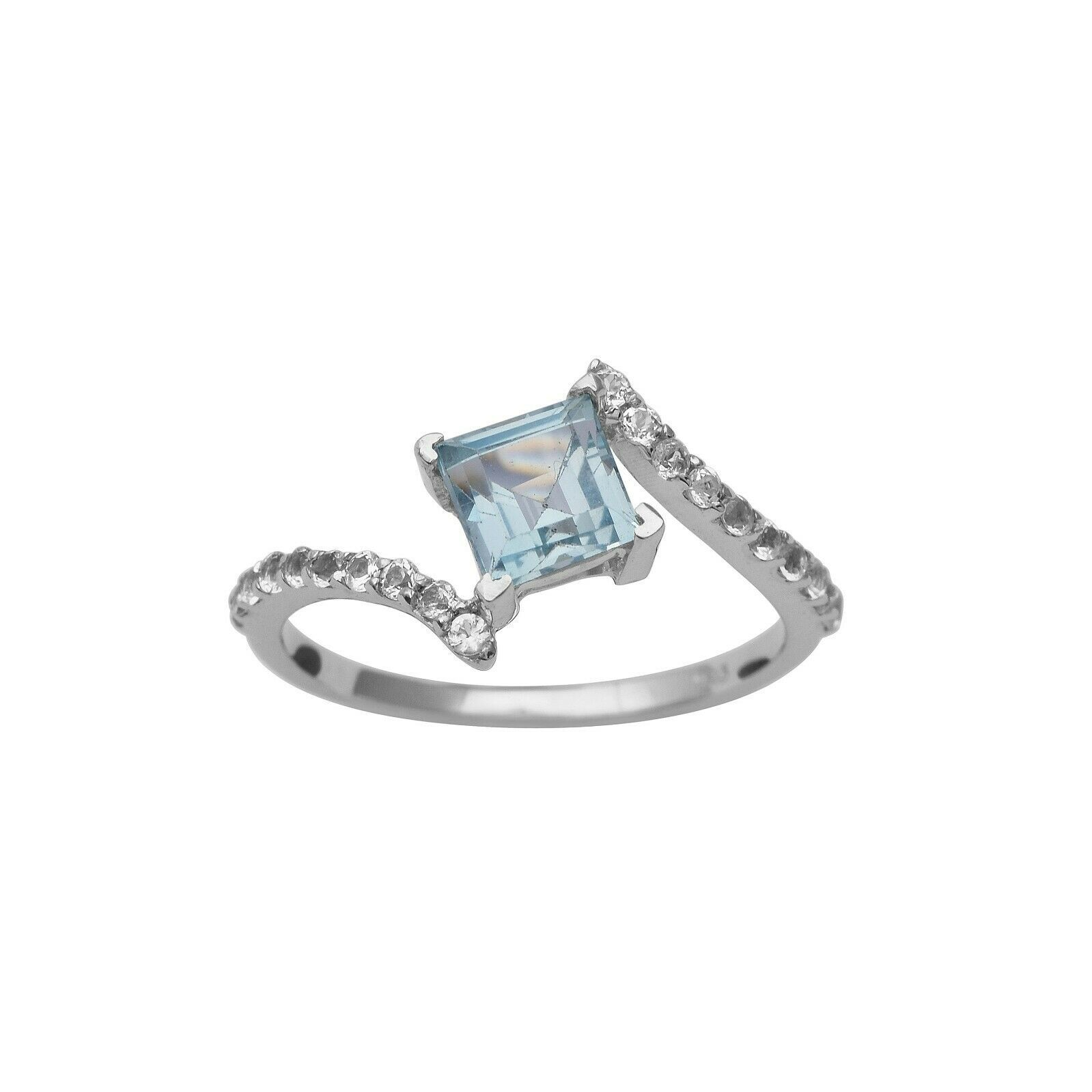 Square Cut Blue Topaz 1 Stone 925 Sterling Silver Bypass Wrap Women Wedding Ring