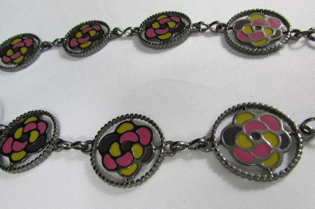 Damen Zinn Metall Bling Gürtel Gelb Rosa Blume Anhänger Hüfte Taille S M L image 9