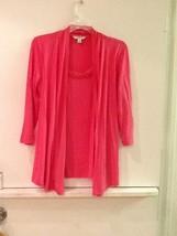 Women's Liz Claiborne Pink Mock Layered Chiffon Trim 3/4 Sleeve Knit Top Sz XXS - $16.95