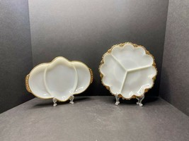 2 Pc. VTG Anchor Hocking & Fire King Divided Relish Trays Milk Glass- Ea... - $24.39