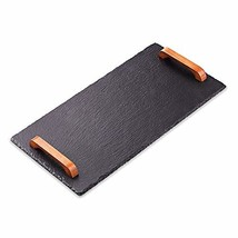 Slate Stone Serving Board Cheeseboard Tray Platter with Acacia Wood Hand... - $30.48