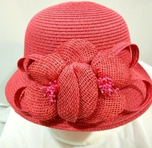 CC Exclusive Womens Coral Red Cloche Hat - £14.35 GBP