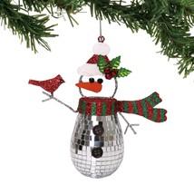 Dept 56 Snowman Cardinal Ornament Glass Mirror Jingle Bells Christmas 6002556 - $5.62