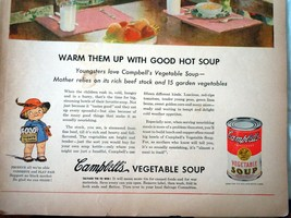 Campbell's Vegetable Soup Food Fights For Freedom WWII Advertising Print Ad Art  image 3