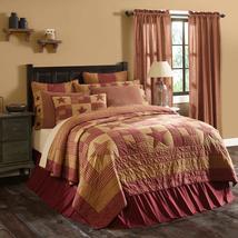 12-pc Ninepatch Star Burgundy & Tan (Luxury CALIFORNIA KING) Quilt Set - Vhc