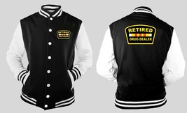 Retired Drug Dealer Letterman Varsity Baseball BLACK/WHITE Fleece Jacket - $31.99
