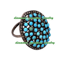 7.55c Rose Cut Diamond Turquoise Antique Victorian Silver Ring Mother's Day Gift - $204.78