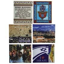 "Judaica Canvas Picture Wall Hang Israel Jerusalem Hamsa Blessing 7"" X 6"" image 4"