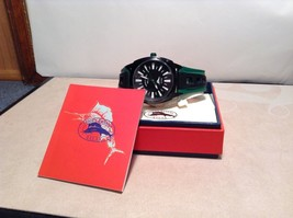 NEW Tommy Bahama Relax Watch Green/Black Band w White Accents