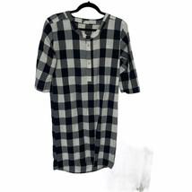 Turtledove London Womens White Black Gray Check Henley Neck Shirt Dress ... - $45.53