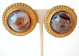 Vintage Clip Earrings Polished Stone Circle Chunky Made In India Mod Funky - $9.89