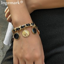 Punk Carved Coin Chunky Thick Chain Bracelet for Women Charm PU Leather Lock Las - $15.23