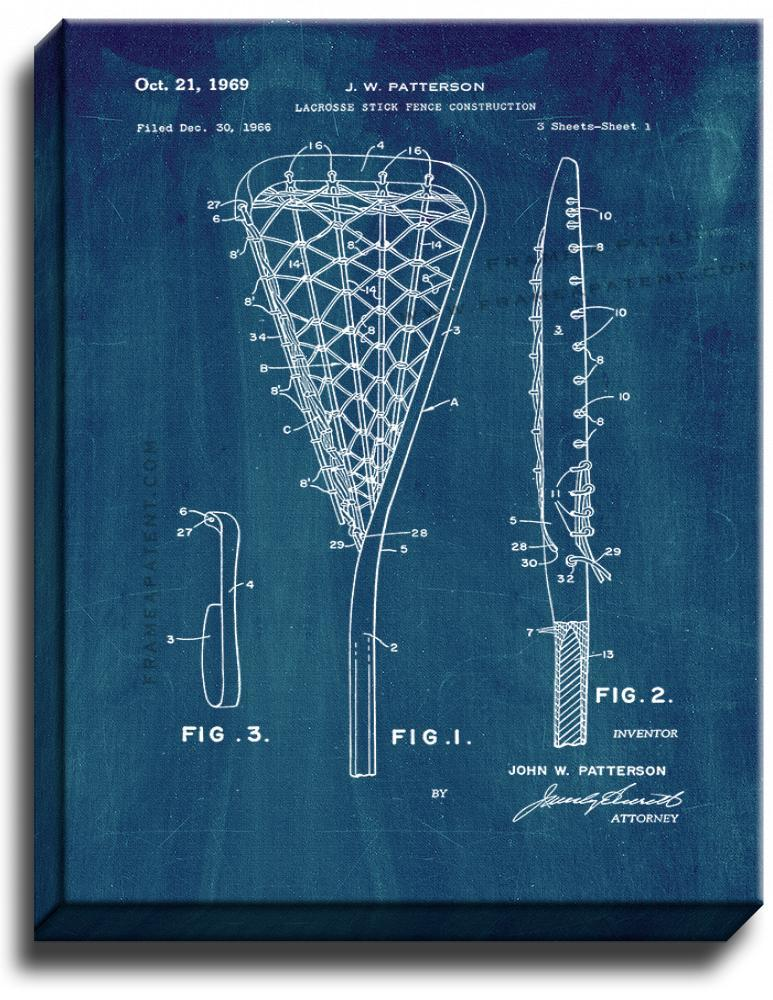 Primary image for Lacrosse Stick Patent Print Midnight Blue on Canvas
