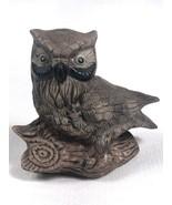 "Vintage Bisque Porcelain Brown Owl on Branch Figurine 5"" EUC - $6.85"