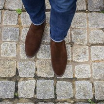 Handmade Men's Chocolate Suede High Ankle Chelsea Boots image 3