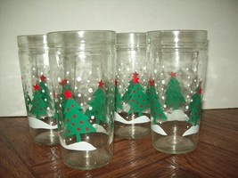 Christmas Tree Drinking Water Glasses Tumblers Clear Winter Holiday Thic... - €18,97 EUR
