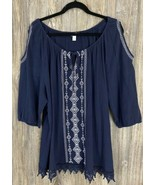 Westport Blouse 3XL Cold Shoulder Peasant 100% Cotton Muslin Crochet 3/4... - £10.81 GBP