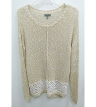 Olivia Sky Womens XL Sweater Tunic Cream Lace Floral  Long Sleeve P14 - $17.09